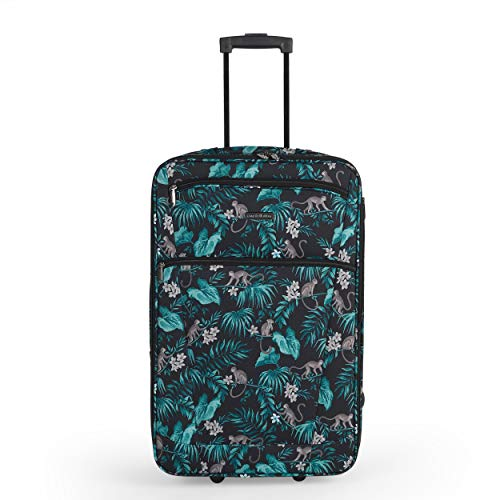 Constellation LG007314PCMONFSDIR3 25 Inch Eva Cabin Suitcase | Carry Handles | Push Button Trolley Mechanism | Polyester | Monkey Print