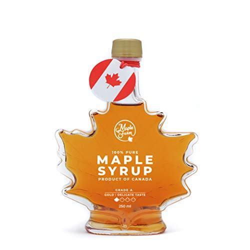 Jarabe de arce Grado A - GOLD - Delicate taste - 250ml (330g) - Miel de arce - Sirope de Arce - Original maple syrup - Pancake syrup