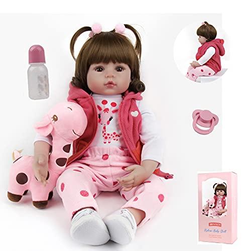 ZIYIUI 24 Zoll Simulation Reborn Baby-Puppe 60 cm Reborn Babys Mädchen Weiche Vinyl Silikon Lebensechte Babypuppen Reborn Baby Toddler Spielzeug Geschenk