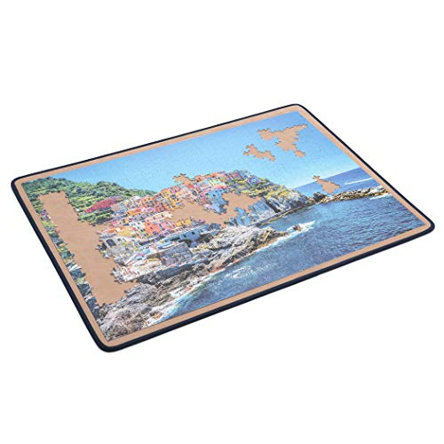 Becko Jigsaw Puzzle Board Portable Puzzle Mat for Puzzle Storage Puzzle Saver, Non-Slip Surface, Sturdy and Movable, Up to 1500 Pieces (Blue/Khaki)