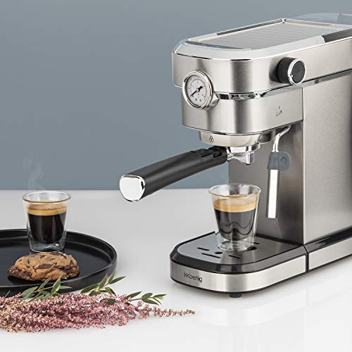 H.Koenig Machine Expresso Automatique Professionnelle Pression 15 Bar EXP820 INOX, Portable, Système thermoblock, 1.1L, Pompe baromètre intégré, Chauffe-Tasses, Buse Vapeur, Cafés et Boissons lactées