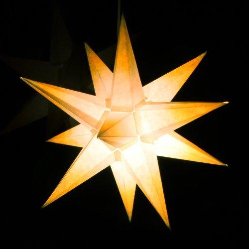1 Beleuchteter Papierstern, weiß mit gelben Spitzen, 3d Weihnachtsstern fürs Fenster - Bockelwitzer Stern (Art.Nr.205) inkl. Netzteil mit 3-fach-Verteiler, Fenster-Clip, Durchmesser 19 cm, Papier, komplett handgefertigt, für den Innenbereich