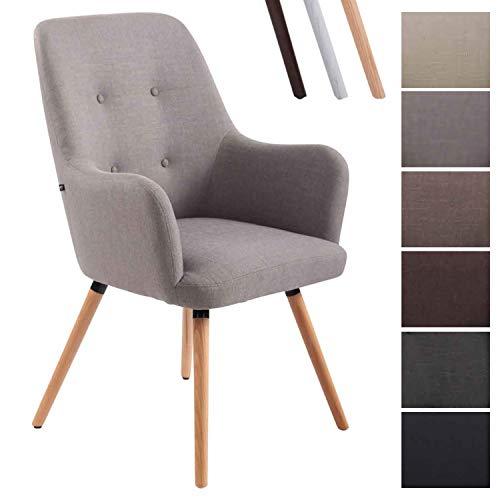 CLP Lounger AARHUS mit hochwertiger Polsterung und Stoffbezug I Esszimmerstuhl mit Armlehnen und Gestell aus Buchenholz Grau, Natura
