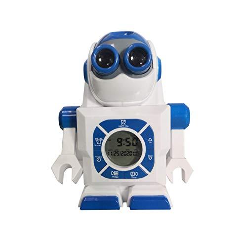 flouris Reloj Despertador De Proyección para Dormitorios, Radio Reloj Despertador Digital Reloj Despertador Robot con Cargador USB - Gran Espejo Pantalla LED Relojes Despertadores De Proyección