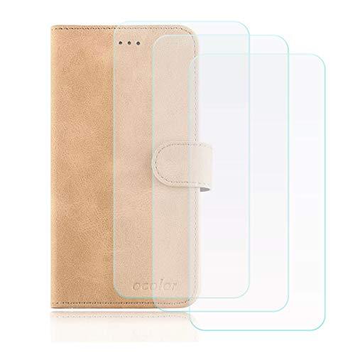 DQG Cover für Oukitel K8000 Hülle, Flip PU Ledertasche Handyhülle Wallet Tasche Schutzhülle Hülle mit Card Slot & Ständer + [3 Stück] Panzerglas Schutzfolie für Oukitel K8000 (5.5
