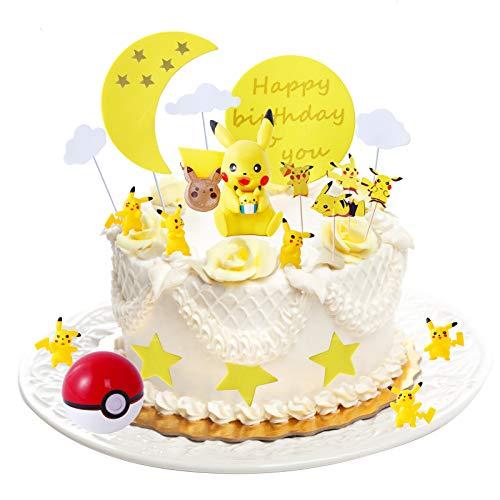 Colmanda Tortendekoration Geburtstag, Tortendeko Cake Topper Kuchendeko Happy Birthday, Geburtstag Dekoration mit Pikachu Figuren Kuchendeko Geburtstagsdeko, Geburtstag für Kinder Baby Mädchen(B)