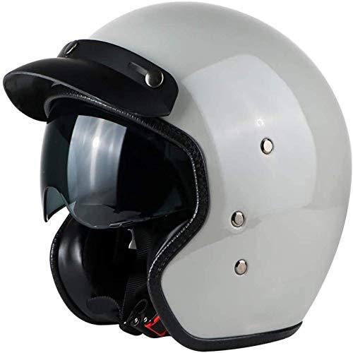 ZHXH Harley Helmet Adult Motorboat Cruiser Scooter Hombres y mujeres Casco de certificación de punto con gafas de sol 4/6 Scooter de casco