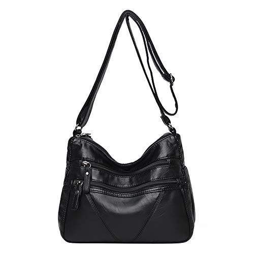 Up to date Multi-zipper Wash PU Handbag Women Solid Big Capacity Shoulder Bag (Black)