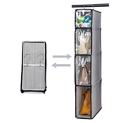 Kntiwiwo Hanging Handbag Organizer Purse Storage Breathable Soft Foldable with Clear Dust Proof Cover Hanging Cabinet Shelves for College Student Dormitary Living Room 1PcsGrey