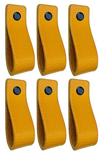 Brute Strength - Ledergriffe Möbel - Ockergelb - 6 Stück - 16,5 x 2,5 cm - enthält 3 Schraubenfarben pro Ledergriff für Küchenschränke - Bad - Schränke