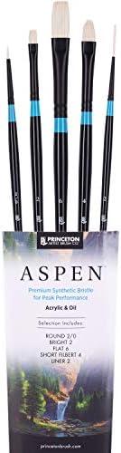 Princeton Aspen 6500 5pc Professional Paint Brushes Princeton Acrylic Brushes Synthetic Oil product image