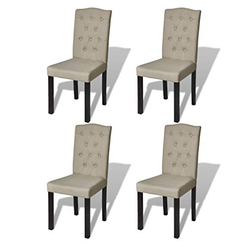 vidaXL Set de 4 Sillas de Comedor Antigua Color Beige Arco