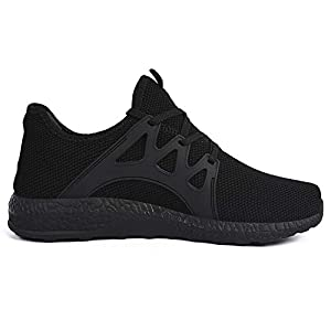 Feetmat Womens All Black Sneakers Ultra Lightweight Breathable Mesh Athletic Walking Running Shoes Black 6