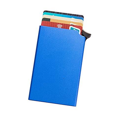 WAINEO Portatarjetas Rfid Antimagnético - Estuche Para Tarjetas De Crédito De Aluminio Y Metal Con Función Emergente Automática Anti-Theft Men Business 9.7 * 6.3CM/W5