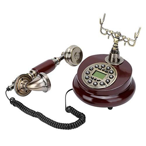 ANGGREK Teléfonos Antiguos para teléfono Fijo, teléfono de Estilo Antiguo Resina de Madera imitada Teléfono Antiguo Teléfono Fijo Antiguo Retro