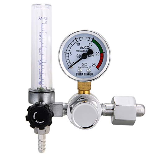 NO LOGO WSF-Adapter, 1pc Argon Regulators 0-25 MPa Weld Gasregler CO2 Druck Durchflussregler mit Gasdruckmessgerät MIG MAG