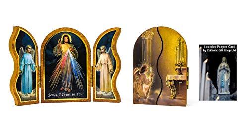 Tríptico de Divina Misericordia Placa plegable con oración & Lourdes tarjeta de oración)