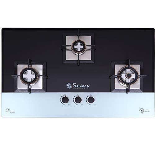 Seavy 3 Brass Burner Built in Hob/Hob Top with Toughened Glass, Auto Ignition (Benz 3BRN - Black&White)