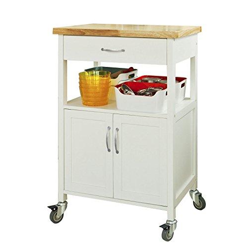 SoBuy FKW22-WN Küchenwagen aus Kautschukholz Servierwagen Rollwagen Getränkewagen fürs Büro BHT ca.: 60x90x44,5cm