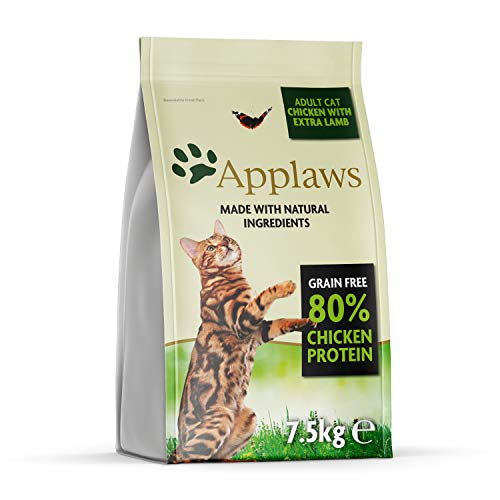 Applaws Completa y sin Granos para Gatos Secos para Adultos, Pollo con Cordero Bolsa de 7,5 kg