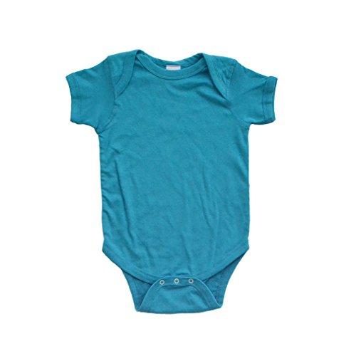 Apericots Super Soft Cotton Blank Plain Comfy Baby Short Sleeve Bodysuit Turquoise