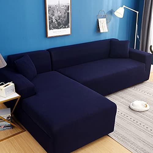 WXQY Funda de sofá de Color sólido de Alta Elasticidad sofá Moderno Chaise Longue Esquina en Forma de L Funda de sofá elástica Funda de sofá A1 2 plazas