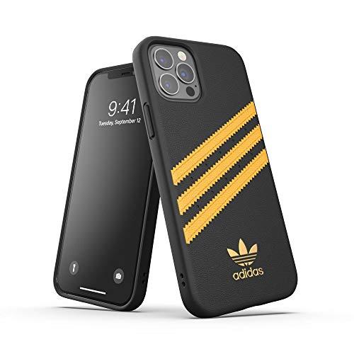 Adidas, custodia progettata per iPhone 12 / iPhone 12 Pro 6.1, con bordi rinforzati antiurto e design originale, colore: nero/oro