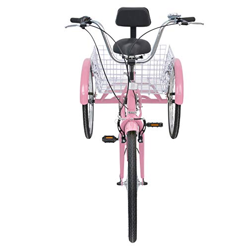 MOPHOTO Adult Tricycles 7 Speed 24 Inch Three Wheel Bike Cruiser Trike with Low-Step Through Frame/Large Basket/Backrest Saddle for Men/Women/Sen   iors/Young (Pink, 7-Speed)