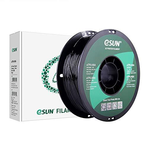 eSUN Filamento TPU Flexible 1.75mm, Filamento TPU-95A para Impresora 3D, Precisión Dimensional +/- 0.05mm, 1KG (2.2 LBS) Carrete Filamento de Impresión 3D, Negro