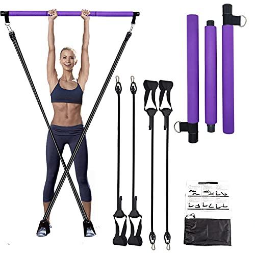 Kit de Barra de Pilates Ajustable Barra de Pilates con Bandas de Resistencia, Maquinas de Gimnasio para Casa Pilates Portátile, Kit Fitness y Bucle para el Pie Hacer Ejercicios en Casa, Yoga