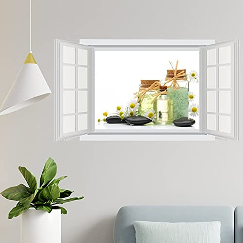 Piedras Camomiles Spa Jar 60 × 100 cm vinilo pegatinas de pared y murales   Art Wall Decal   Decoración para el hogar, póster extraíble para dormitorio, sala de estar, guardería interior