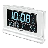 DreamSky Auto Set Digital Alarm Clock Backup Battery with USB Charging Ports for Bedroom, 6.6 Inch Large Display with Date Weekday Temperature, Auto DST, Full Range Brightness Dimmer, Snooze, 12/24Hr
