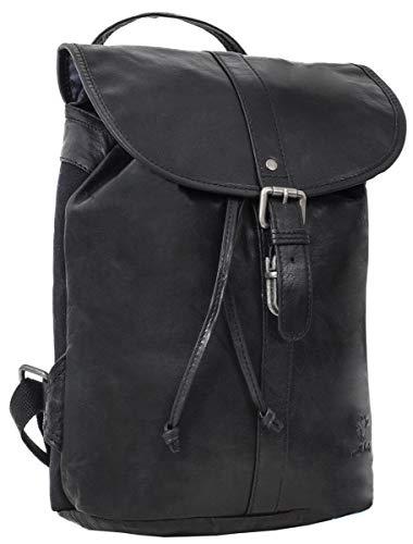 Gusti Rucksack Leder Damen Herren klein - Bennett Lederrucksack Backpack 12L Vintage schwarz Schnappverschluss Wasserfest
