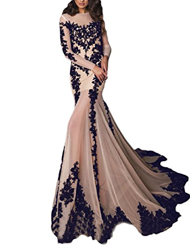 OYISHA Womens Long Sleeve Mermaid Wedding Evening Gown Appliqued Party Dress EV5 Nude Navy Blue 2