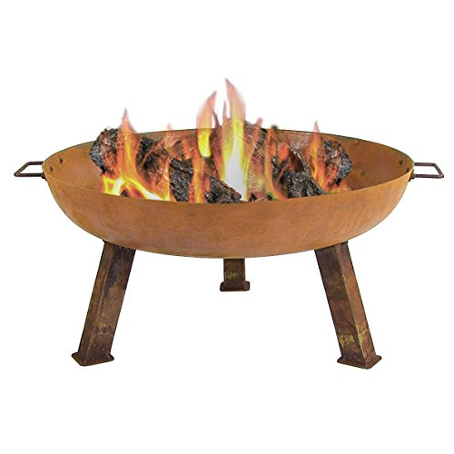 Big Save! Sunnydaze Rustic Cast Iron Fire Bowl with Handles - Outdoor Wood Burning Fire Pit - Large ...