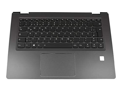Lenovo Yoga 510-14AST (80S9) Original Tastatur inkl. Topcase DE (deutsch) schwarz/schwarz mit Backlight mit Aussparung für Fingerprint-Reader