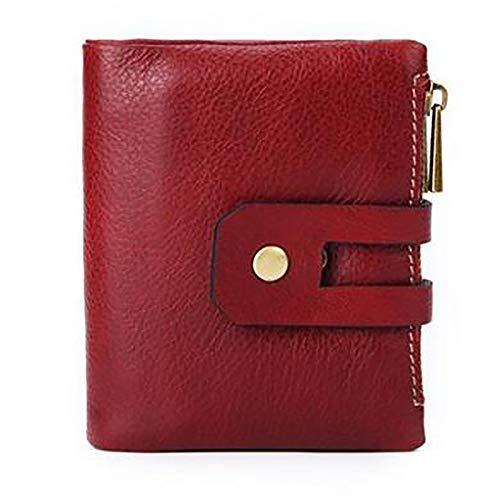 Womens portemonnee RFID blokkeren echte lederen dames portemonnees met ketting Multi compartiment portemonnees voor vrouwen met dubbele rits, kleine bifold dames portemonnees