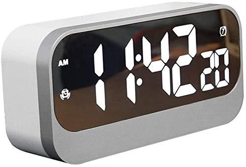 hwljxn Casa Relojería de la Cama Alarma Reloj de Alarma LED Pantalla Grande Perpetual Calendario Espejo Alarma Reloj de Alarma 3 Conjuntos de Alarma Trabajo Juda DE Mute Reloj DE ALARMAJES
