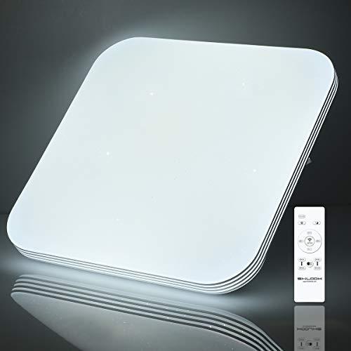 Deckenleuchte Led Dimmbar mit Fernbedienung, 18W Deckenlampe Sternenhimmel für Schlafzimmer Kinderzimmer Küche, Quadratisch Flach 33CM