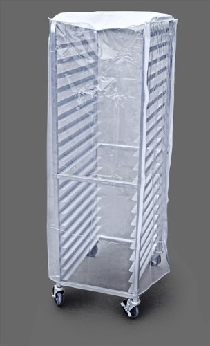 New Star Foodservice 36572 Plastic 20-Tier Commercial Kitchen Bun Pan Rack Cover, 28-Inch by 23-Inch by 61-Inch, Set of 2, Clear