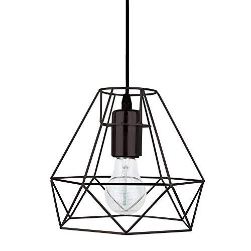 Suspension en métal au style rétro industriel Lampe vintage E27, Métal, Noir , E27 4.00W 230.00V