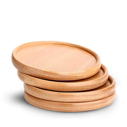 Coasters for Drinks Set of 4, Natural Non Slip Wooden Coasters, Perfect Housewarming Gift Idea