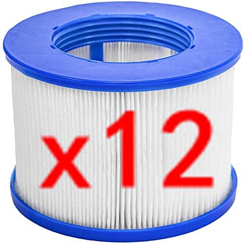ERTLKP CosySpa Ersatz-Whirlpool-Filter, für Aqua Spa-Filter, Whirlpool-Ersatzfilter für Wellness Spa für Whirlpool für Aquaparx für Ospazia, für G Spa, für BCool, für Mspa, für Nordic (12 Stück)