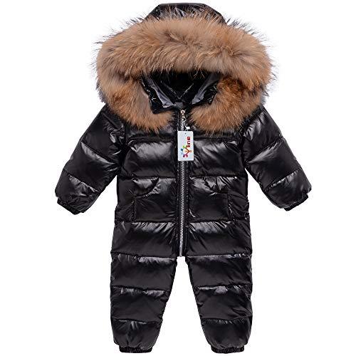 Baby Schneeanzüge Winter Overall Mit Kapuze Daunen-Skianzug Strampler Mädchen Jungen Winter Outfits, Schwarz 18-24 Monate