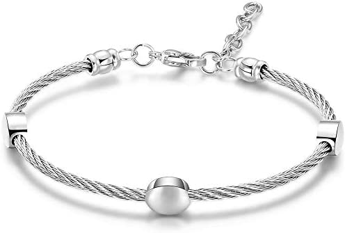 Jude Jewelers Stainless Steel Cable Wear Round Bead Adjustable Size Bangle Bracelet Silver product image