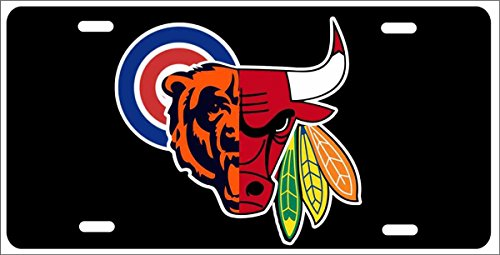 Chicago Sport Teams Combined Logo Novelty Front License Plate Decorative Car Tag can Also be Used as a Door Sign