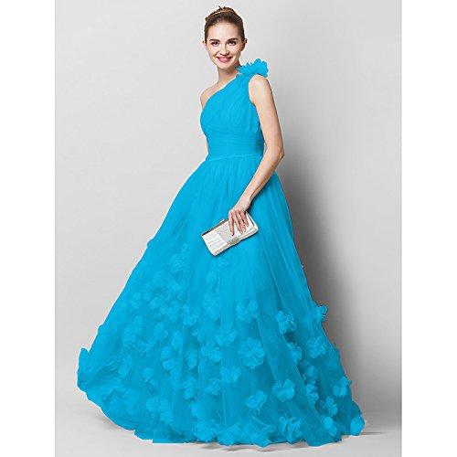 kekafu Ballkleid High Neck Tee Länge Spandex Cocktail Party Prom Kleid mit Perlenstickerei Kristalle/Strass durch SG, Blau, US4/UK 8 / EU 34