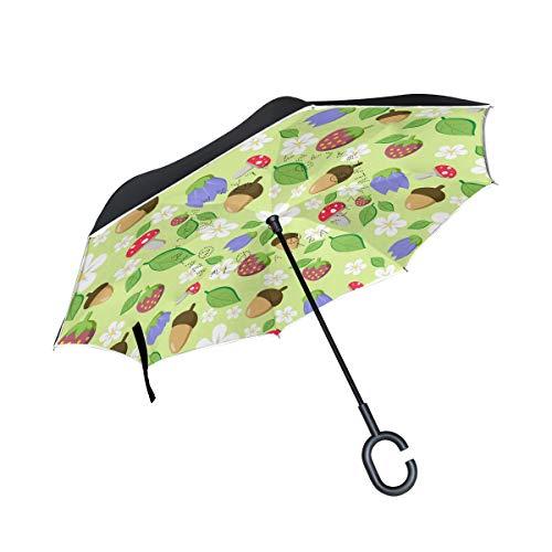 Paraguas al Aire Libre Patio Paraguas Reverse Paraguas Taza Fresa Seta Fruta Patrón sin Costuras con Mango en Forma de C A Prueba de Viento para el Coche