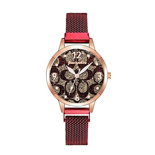 CXJC Reloj de Cuarzo Impreso de patrón de Piel de Serpiente. Reloj Deportivo a Prueba de Agua de la Moda de Las Mujeres. Dial Redondo de 36 mm (Color : Si)