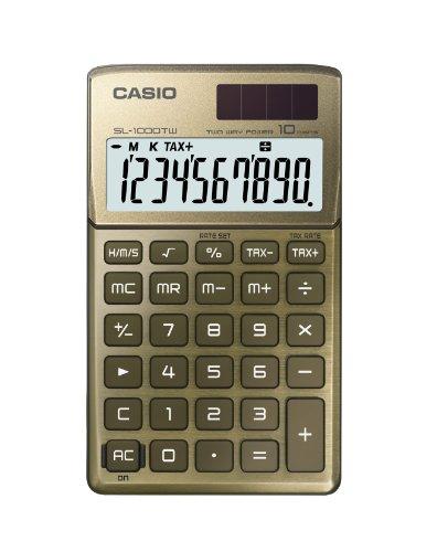 Casio SL-1000TW-GD Calcolatrice Tascabile, Display a 10 Cifre, Struttura in Metallo, Oro